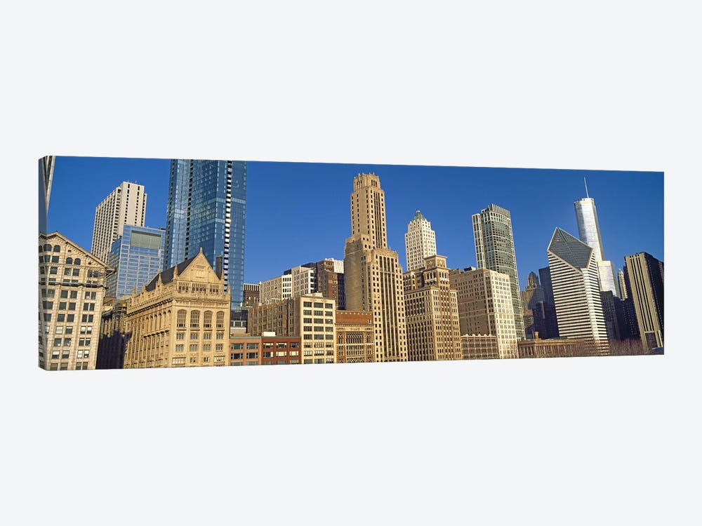 Low angle view of city skyline, Michigan Avenue, Chicago, Cook County, Illinois, USA by Panoramic Images 1-piece Canvas Artwork