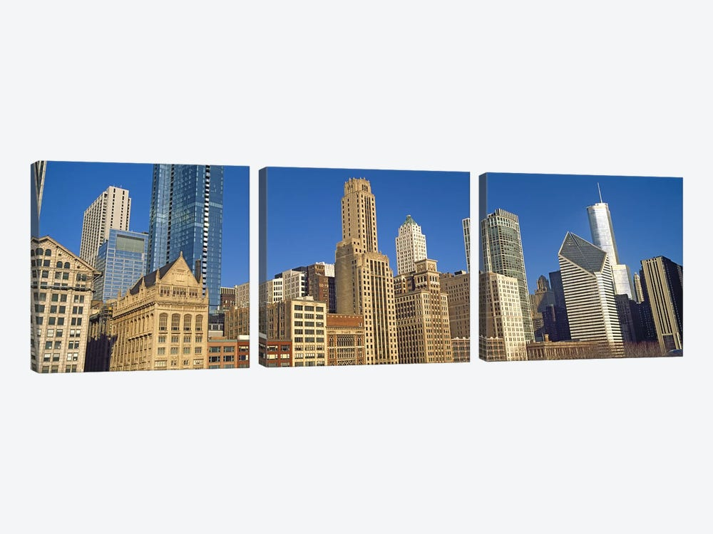 Low angle view of city skyline, Michigan Avenue, Chicago, Cook County, Illinois, USA by Panoramic Images 3-piece Canvas Wall Art