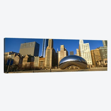 Cloud Gate sculpture with buildings in the background, Millennium Park, Chicago, Cook County, Illinois, USA Canvas Print #PIM10682} by Panoramic Images Canvas Artwork