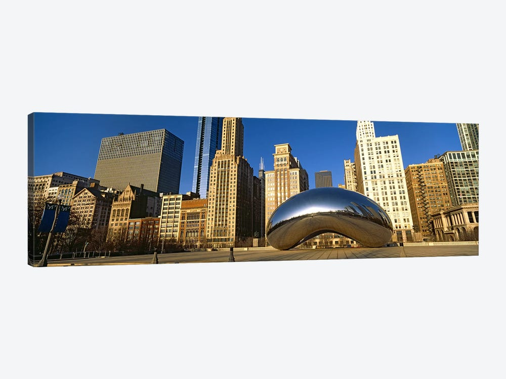 Cloud Gate sculpture with buildings in the background, Millennium Park, Chicago, Cook County, Illinois, USA by Panoramic Images 1-piece Canvas Wall Art