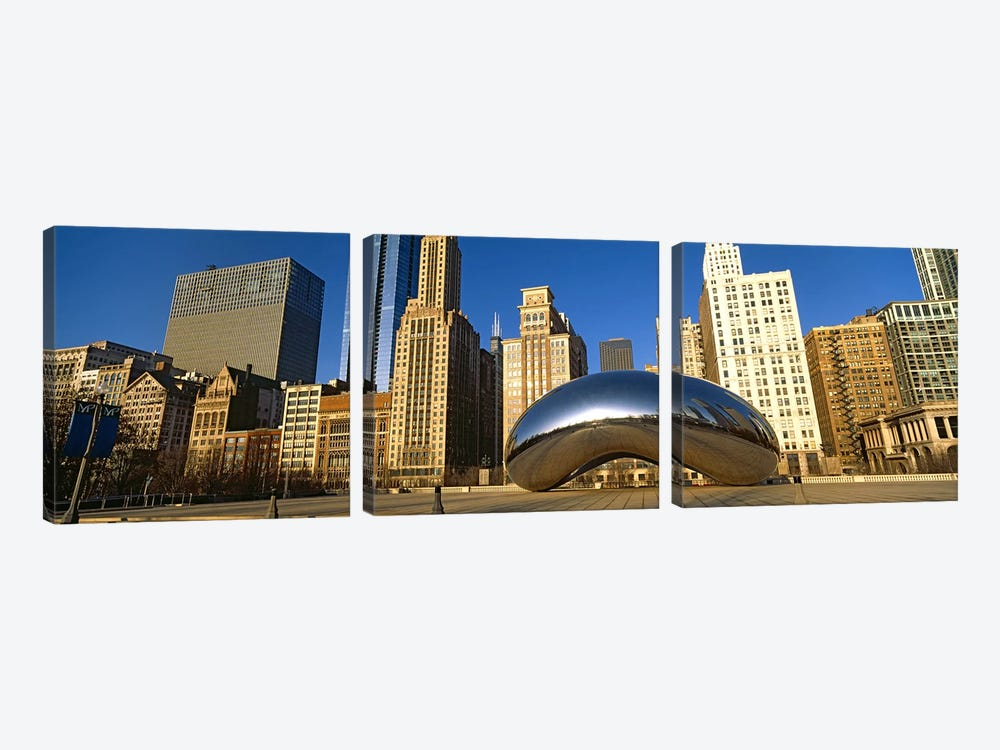 Cloud Gate sculpture with buildings in the background, Millennium Park, Chicago, Cook County, Illinois, USA by Panoramic Images 3-piece Canvas Wall Art