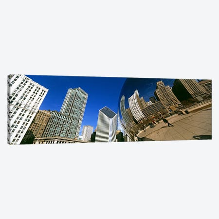 Reflection of buildings on Cloud Gate sculpture, Millennium Park, Chicago, Cook County, Illinois, USA Canvas Print #PIM10683} by Panoramic Images Canvas Artwork