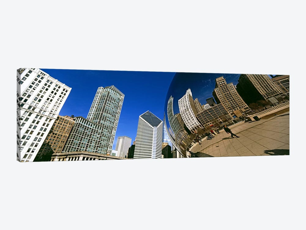 Reflection of buildings on Cloud Gate sculpture, Millennium Park, Chicago, Cook County, Illinois, USA by Panoramic Images 1-piece Canvas Art Print