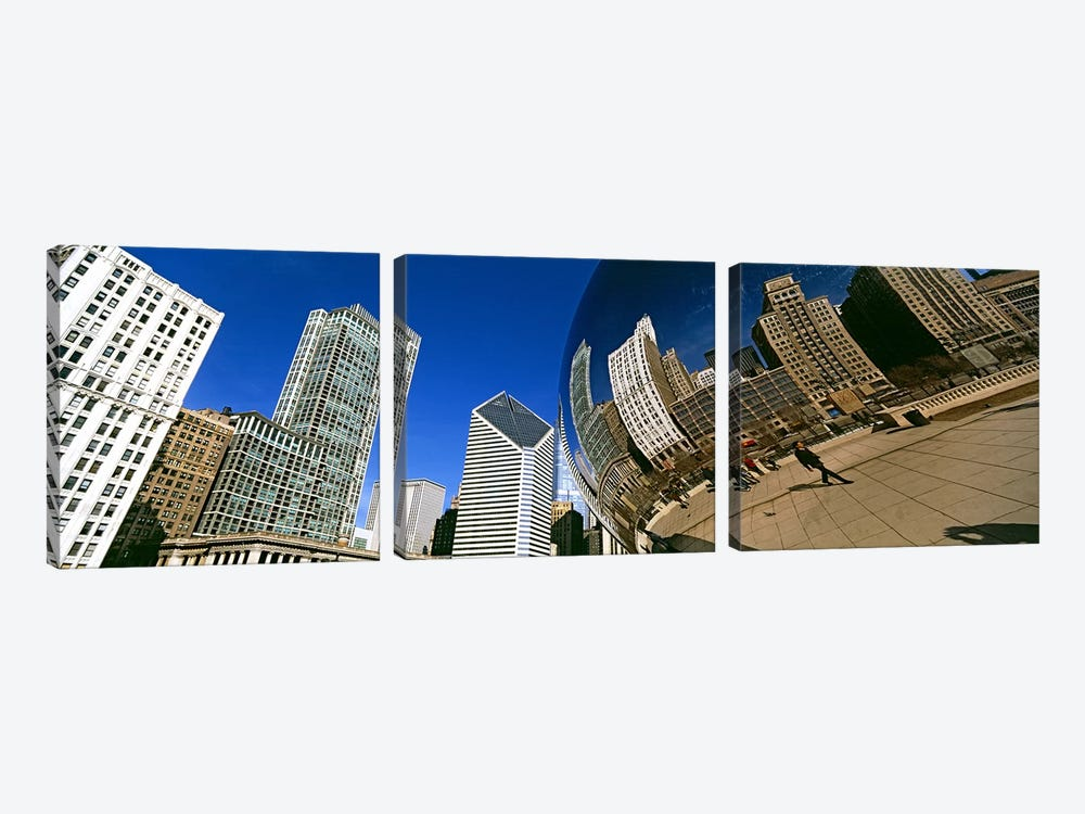 Reflection of buildings on Cloud Gate sculpture, Millennium Park, Chicago, Cook County, Illinois, USA by Panoramic Images 3-piece Art Print