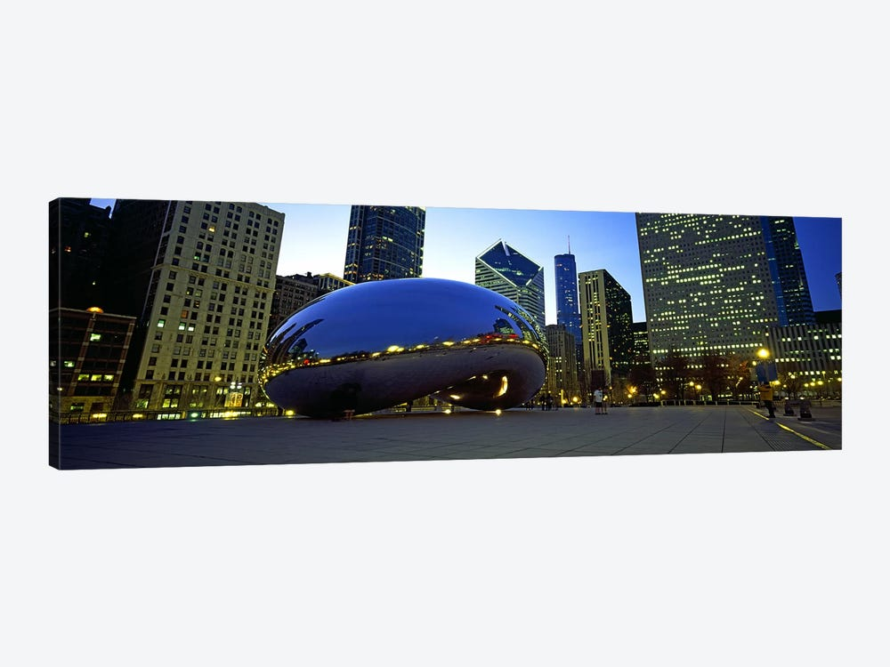 Buildings in a city, Cloud Gate, Millennium Park, Chicago, Cook County, Illinois, USA by Panoramic Images 1-piece Canvas Artwork