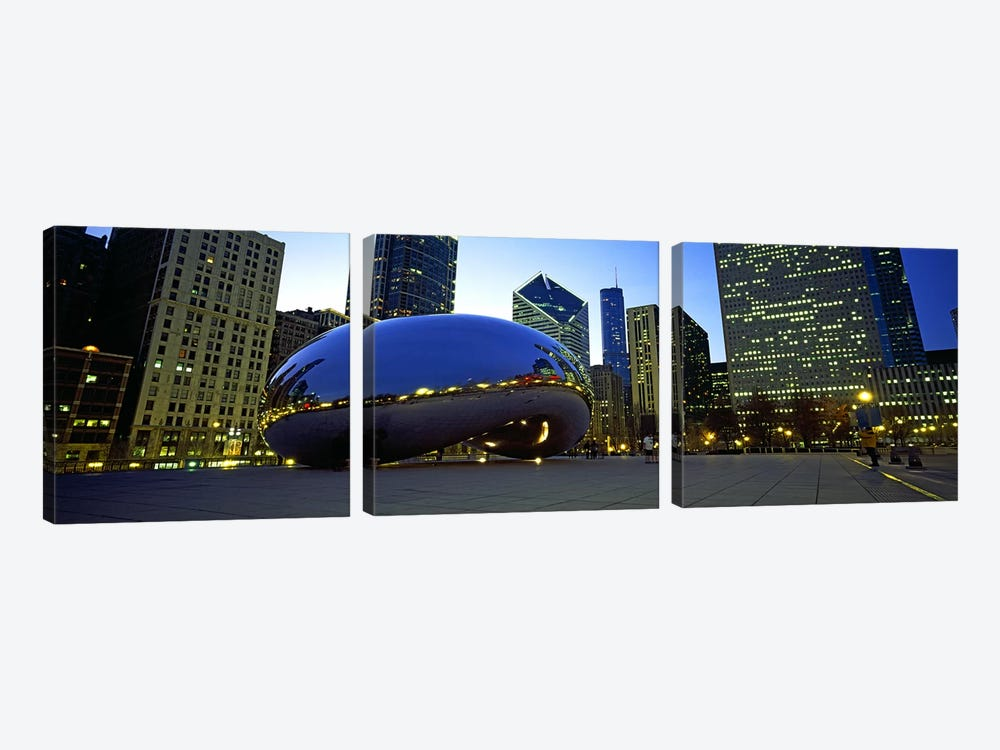 Buildings in a city, Cloud Gate, Millennium Park, Chicago, Cook County, Illinois, USA by Panoramic Images 3-piece Canvas Artwork