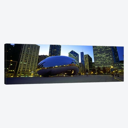 Buildings in a city, Cloud Gate, Millennium Park, Chicago, Cook County, Illinois, USA Canvas Print #PIM10684} by Panoramic Images Canvas Art Print