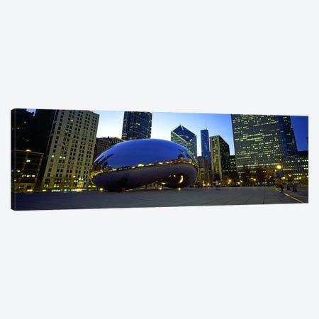 Buildings in a city, Cloud Gate, Millennium Park, Chicago, Cook County, Illinois, USA Canvas Print #PIM10684} by Panoramic Images Canvas Art Print