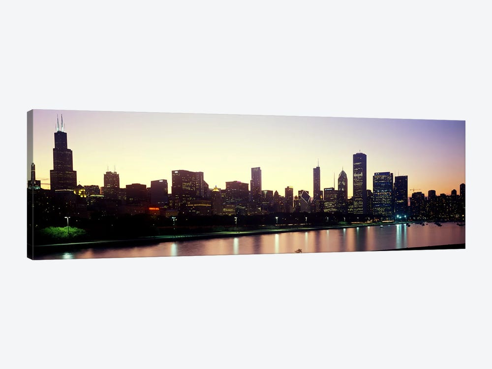 City skyline with Lake Michigan and Lake Shore Drive in foreground at dusk, Chicago, Illinois, USA by Panoramic Images 1-piece Canvas Artwork