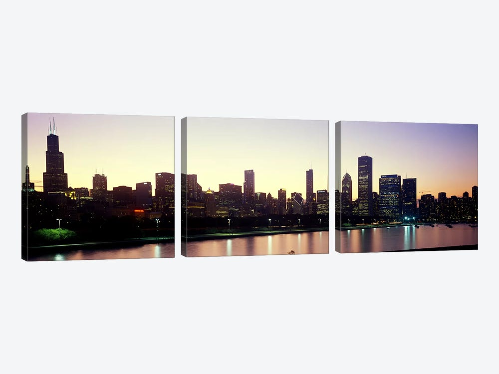 City skyline with Lake Michigan and Lake Shore Drive in foreground at dusk, Chicago, Illinois, USA by Panoramic Images 3-piece Canvas Artwork