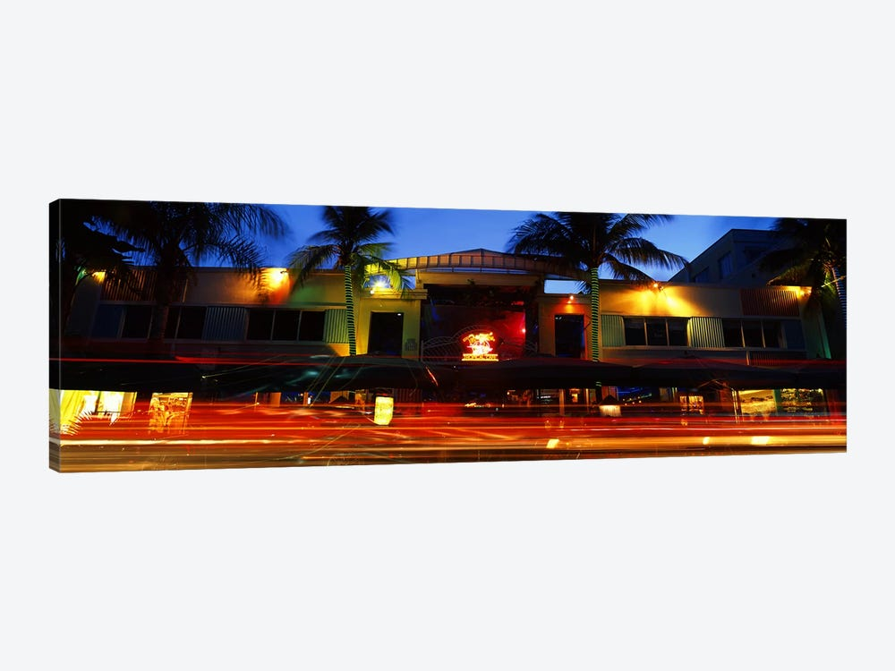 Traffic in front of a building at duskArt Deco District, South Beach, Miami Beach, Miami-Dade County, Florida, USA by Panoramic Images 1-piece Canvas Artwork