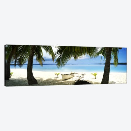 Traditional Polynesian Outrigger On A Beach, Aitutaki, Cook Islands Canvas Print #PIM10701} by Panoramic Images Canvas Art Print