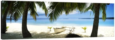 Traditional Polynesian Outrigger On A Beach, Aitutaki, Cook Islands Canvas Print #PIM10701