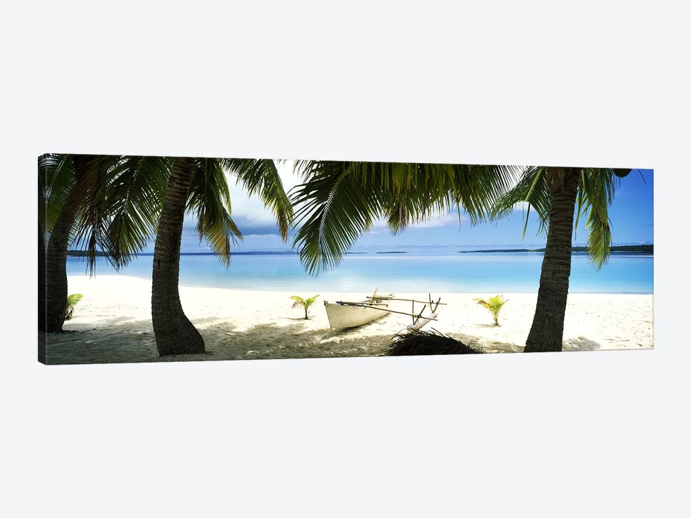 Traditional Polynesian Outrigger On A Beach, Aitutaki, Cook Islands by Panoramic Images 1-piece Canvas Art