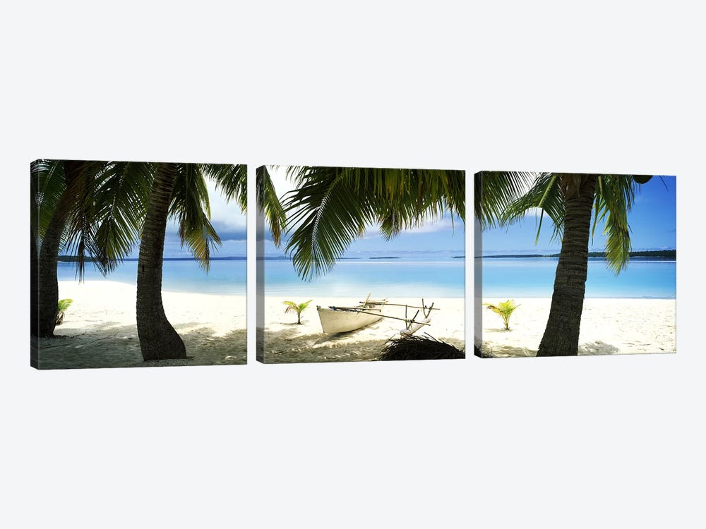 Traditional Polynesian Outrigger On A Beach, Aitutaki, Cook Islands by Panoramic Images 3-piece Canvas Wall Art