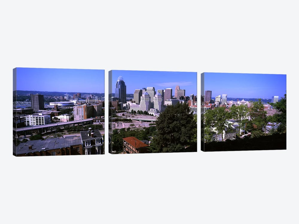 Downtown skyline, Cincinnati, Hamilton County, Ohio, USA by Panoramic Images 3-piece Canvas Art