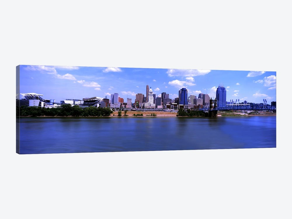 Paul Brown Stadium with John A. Roebling Suspension Bridge along the Ohio River, Cincinnati, Hamilton County, Ohio, USA by Panoramic Images 1-piece Canvas Artwork