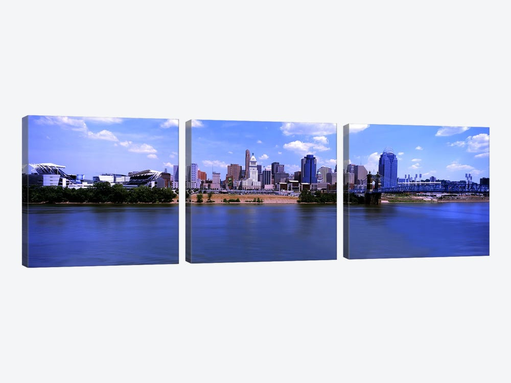 Paul Brown Stadium with John A. Roebling Suspension Bridge along the Ohio River, Cincinnati, Hamilton County, Ohio, USA by Panoramic Images 3-piece Canvas Art