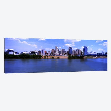 Paul Brown Stadium with John A. Roebling Suspension Bridge along the Ohio River, Cincinnati, Hamilton County, Ohio, USA Canvas Print #PIM10710} by Panoramic Images Canvas Wall Art