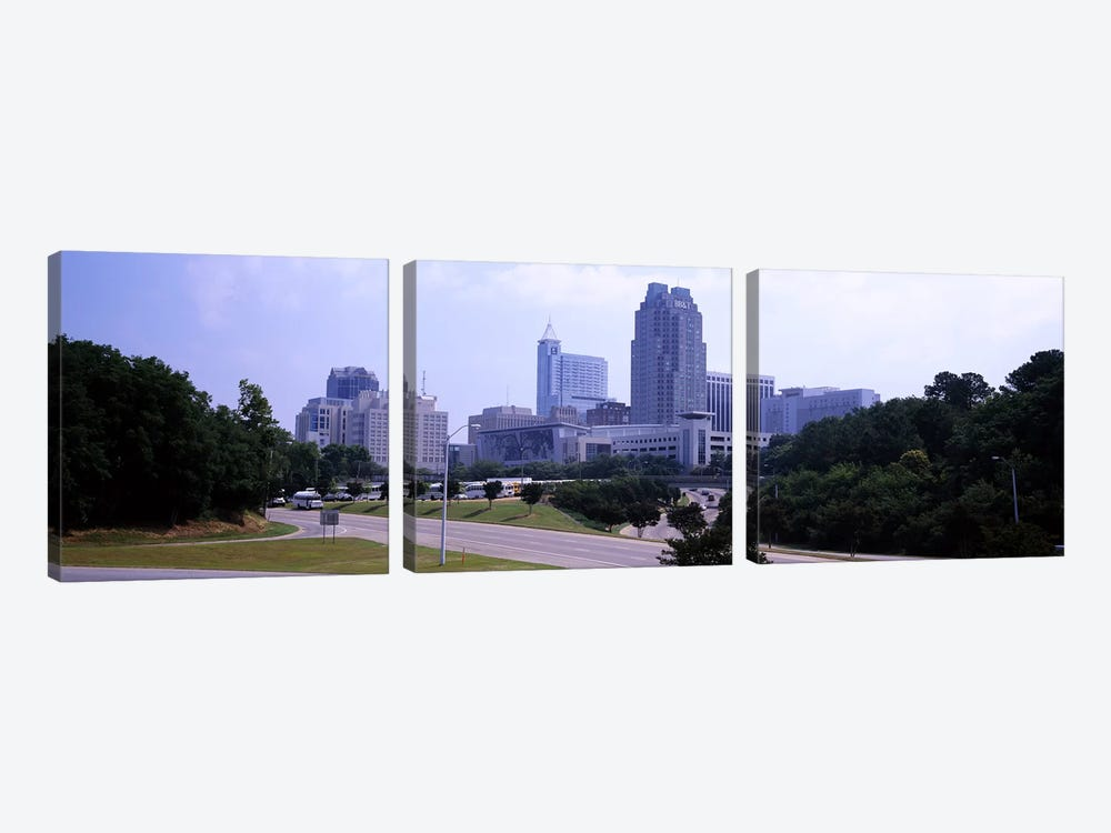 Street scene with buildings in a city, Raleigh, Wake County, North Carolina, USA by Panoramic Images 3-piece Canvas Print