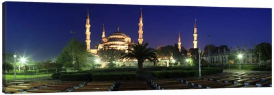 Mosque lit up at night, Blue Mosque, Istanbul, Turkey Canvas Art Print