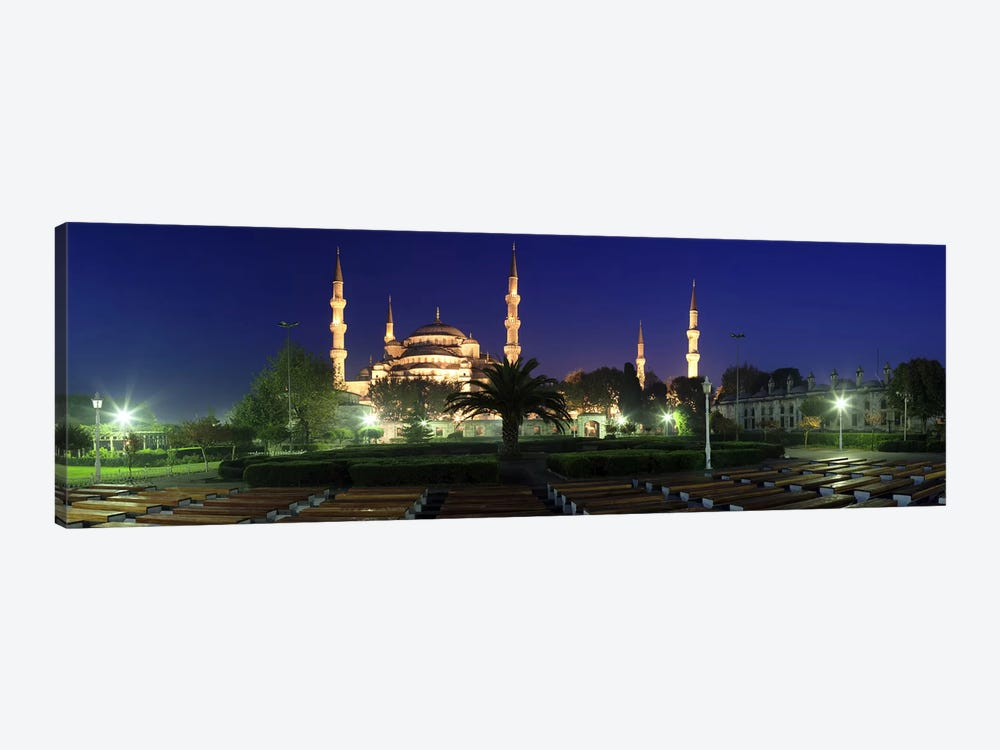 Mosque lit up at night, Blue Mosque, Istanbul, Turkey by Panoramic Images 1-piece Canvas Artwork