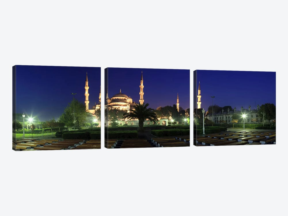 Mosque lit up at night, Blue Mosque, Istanbul, Turkey by Panoramic Images 3-piece Canvas Wall Art
