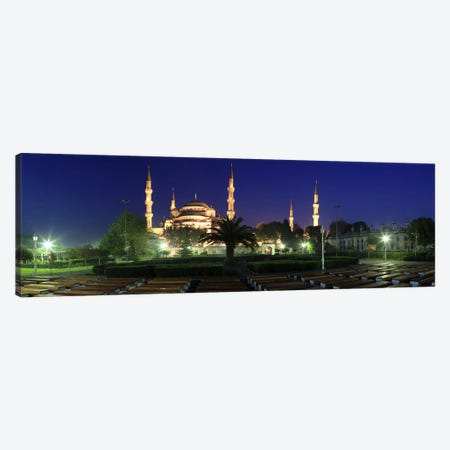 Mosque lit up at night, Blue Mosque, Istanbul, Turkey Canvas Print #PIM10725} by Panoramic Images Canvas Artwork