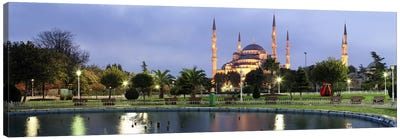 Mosque lit up at dusk, Blue Mosque, Istanbul, Turkey Canvas Art Print