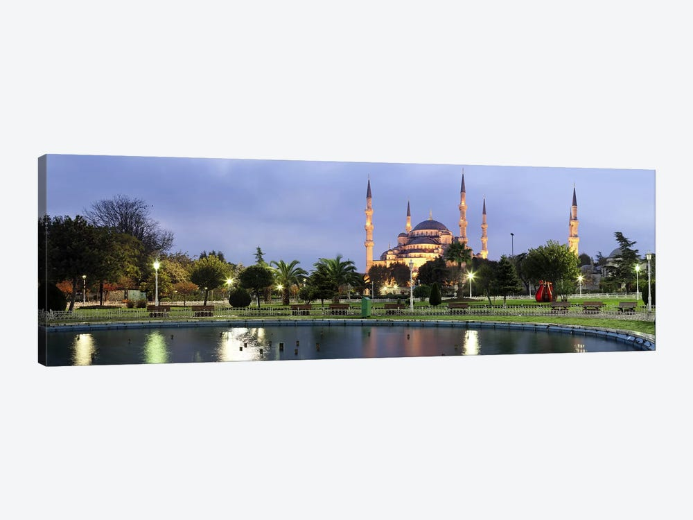 Mosque lit up at dusk, Blue Mosque, Istanbul, Turkey by Panoramic Images 1-piece Canvas Art Print