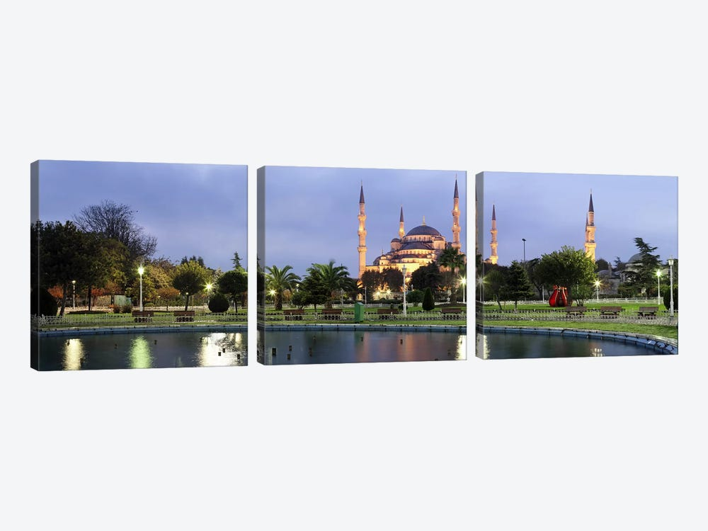 Mosque lit up at dusk, Blue Mosque, Istanbul, Turkey by Panoramic Images 3-piece Canvas Art Print