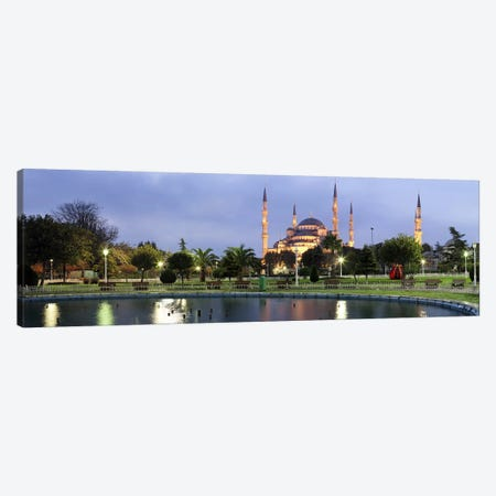 Mosque lit up at dusk, Blue Mosque, Istanbul, Turkey Canvas Print #PIM10726} by Panoramic Images Canvas Artwork