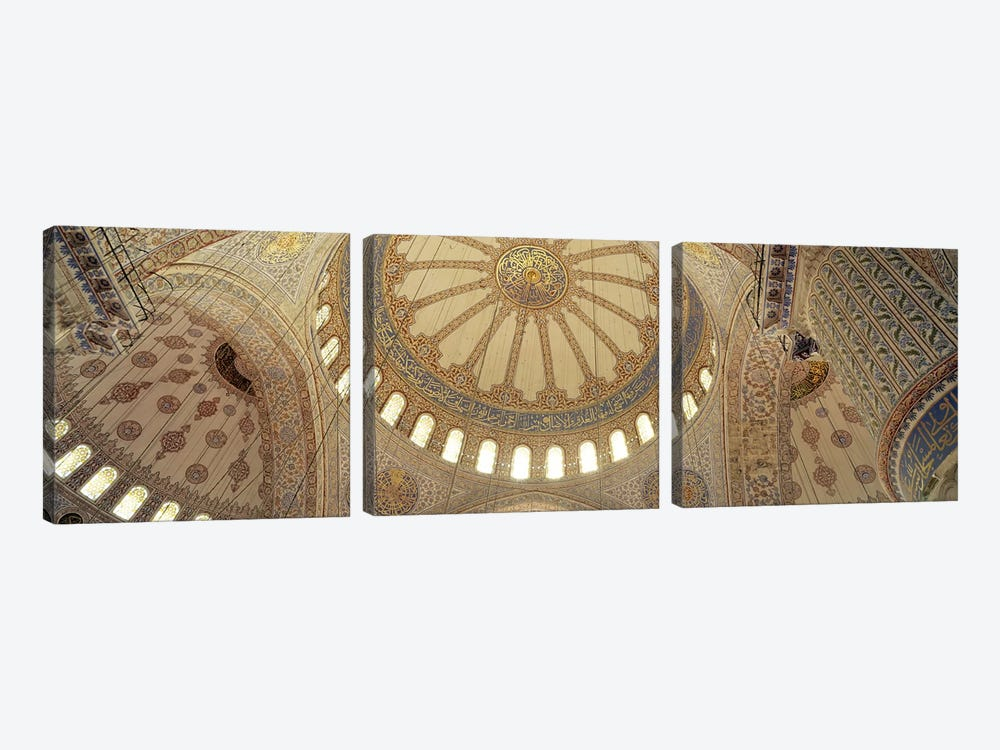 Interiors of a mosque, Blue Mosque, Istanbul, Turkey by Panoramic Images 3-piece Canvas Wall Art