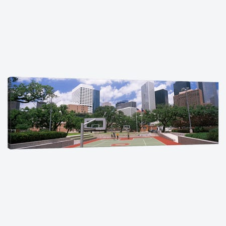 Basketball court with skyscrapers in the background, Houston, Texas, USA #3 Canvas Print #PIM10747} by Panoramic Images Canvas Wall Art