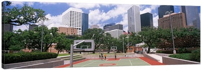 Basketball court with skyscrapers in the background, Houston, Texas, USA #3 Canvas Art Print