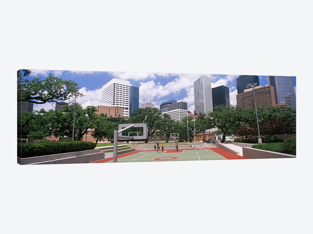 Basketball court with skyscrapers in the background, Houston, Texas, USA #3 by Panoramic Images 1-piece Canvas Art