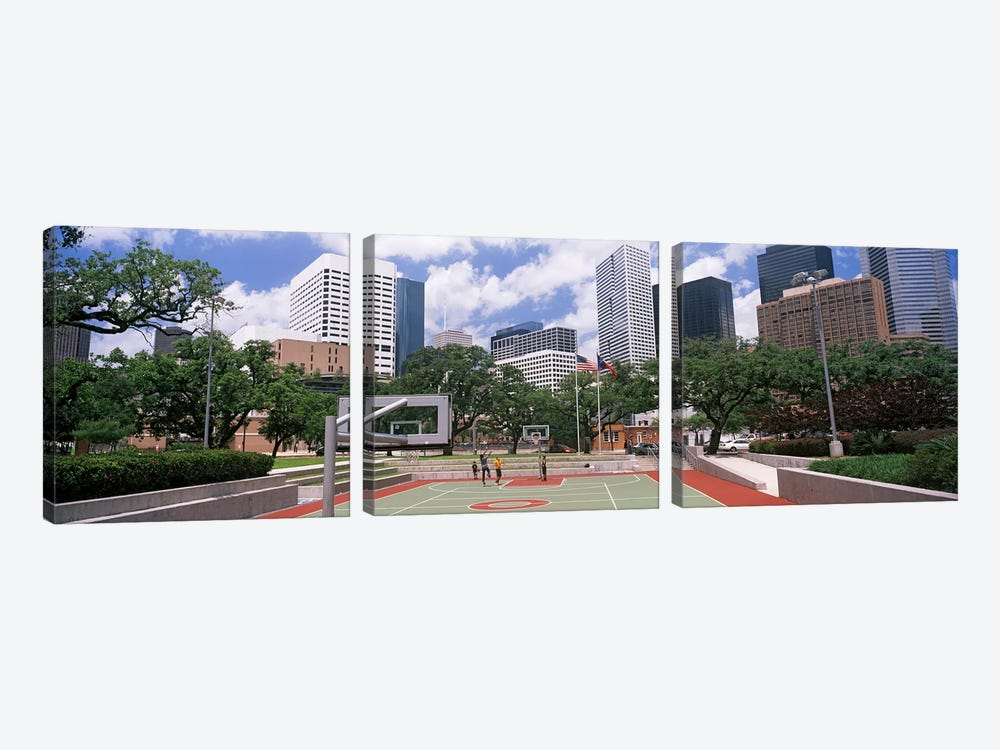 Basketball court with skyscrapers in the background, Houston, Texas, USA #3 by Panoramic Images 3-piece Canvas Artwork