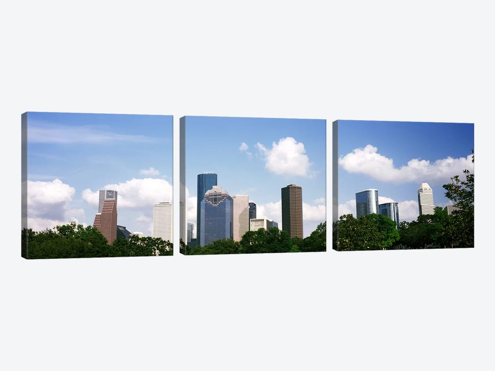 Skyscrapers in a city, Houston, Texas, USA by Panoramic Images 3-piece Art Print