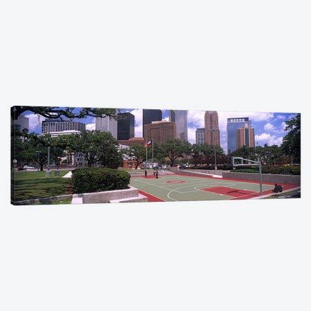 Basketball court with skyscrapers in the background, Houston, Texas, USA #4 Canvas Print #PIM10755} by Panoramic Images Canvas Print