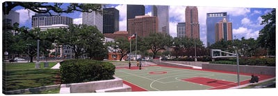 Basketball court with skyscrapers in the background, Houston, Texas, USA #4 Canvas Print #PIM10755