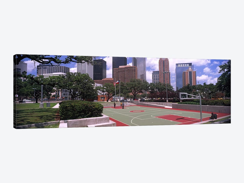 Basketball court with skyscrapers in the background, Houston, Texas, USA #4 1-piece Canvas Print