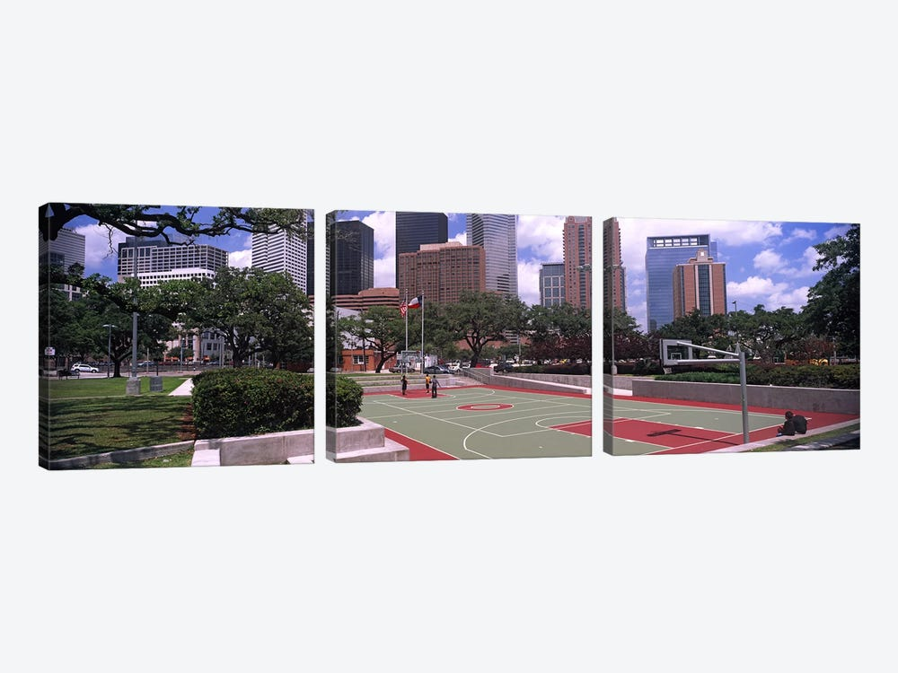 Basketball court with skyscrapers in the background, Houston, Texas, USA #4 by Panoramic Images 3-piece Canvas Art Print