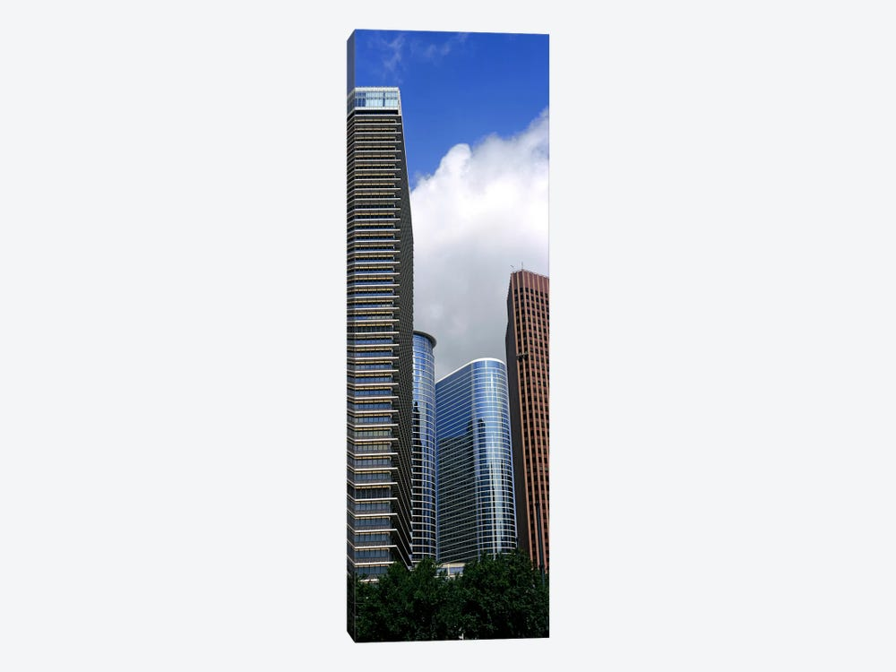 Low angle view of buildings in a city, Wedge Tower, ExxonMobil Building, Chevron Building, Houston, Texas, USA by Panoramic Images 1-piece Canvas Art