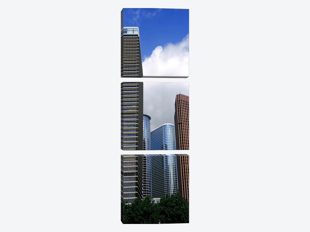 Low angle view of buildings in a city, Wedge Tower, ExxonMobil Building, Chevron Building, Houston, Texas, USA by Panoramic Images 3-piece Canvas Art