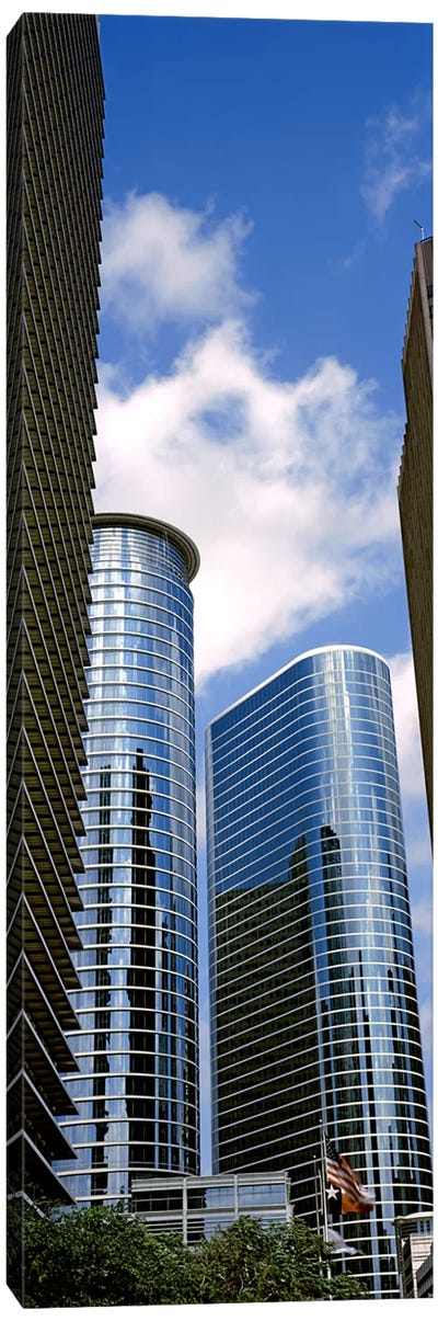 Low angle view of buildings in a city, Wedge Tower, ExxonMobil Building, Chevron Building, Houston, Texas, USA #2 Canvas Art Print