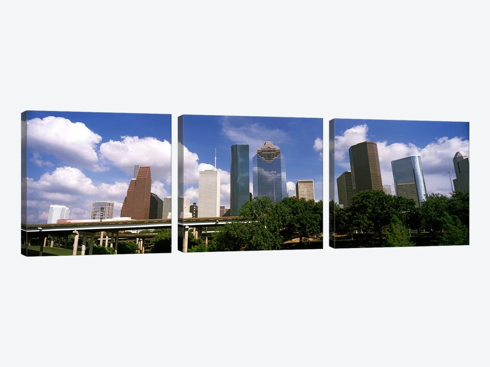 Low angle view of buildings in a city, Wedge Tower, ExxonMobil Building, Chevron Building, Houston, Texas, USA #3 by Panoramic Images 3-piece Canvas Art Print