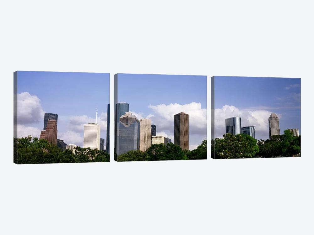 Low angle view of buildings in a city, Wedge Tower, ExxonMobil Building, Chevron Building, Houston, Texas, USA #4 by Panoramic Images 3-piece Canvas Wall Art
