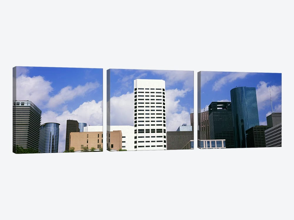 Low angle view of buildings in a city, Wedge Tower, ExxonMobil Building, Chevron Building, Houston, Texas, USA #5 by Panoramic Images 3-piece Canvas Art Print