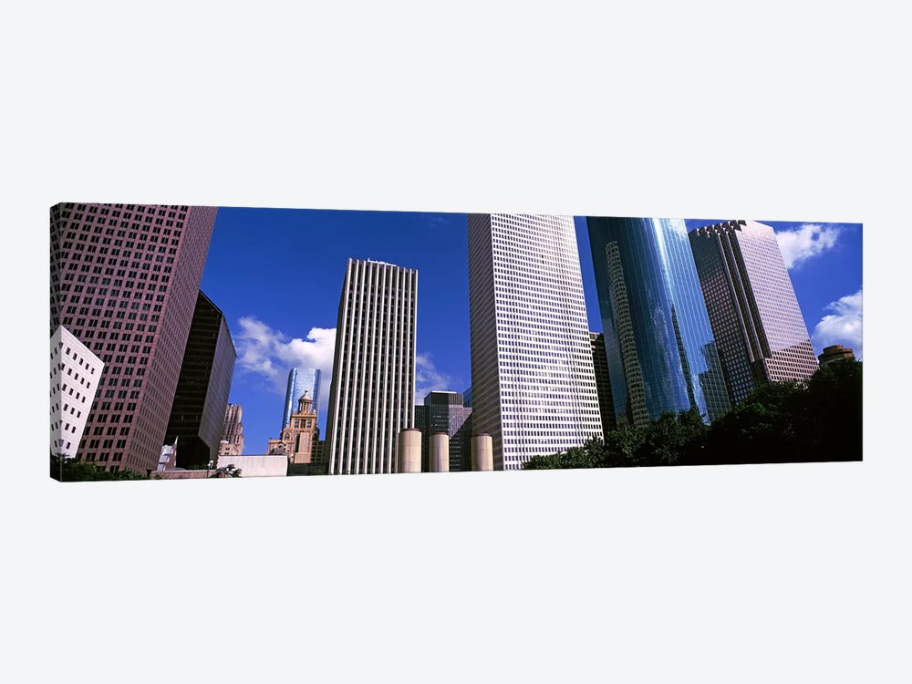 Low angle view of buildings in a city, Wedge Tower, Continental Airlines Tower, ExxonMobil Building, Chevron Building, Houston,  by Panoramic Images 1-piece Canvas Art