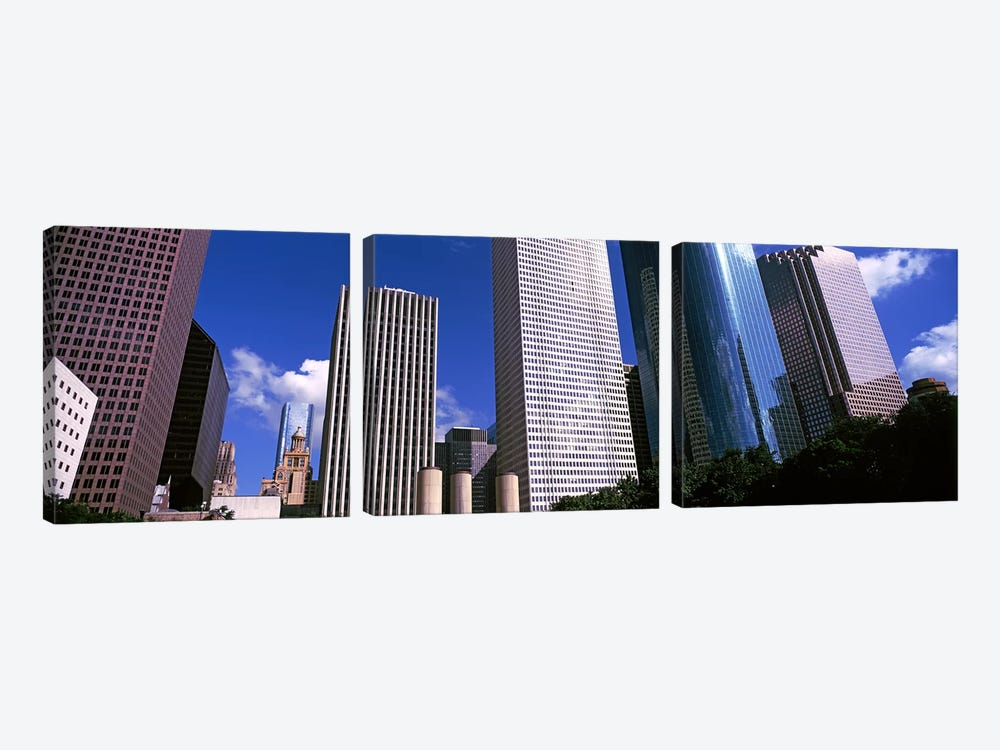Low-Angle View Of Downtown Skyscrapers, Houston, Texas, USA by Panoramic Images 3-piece Canvas Art
